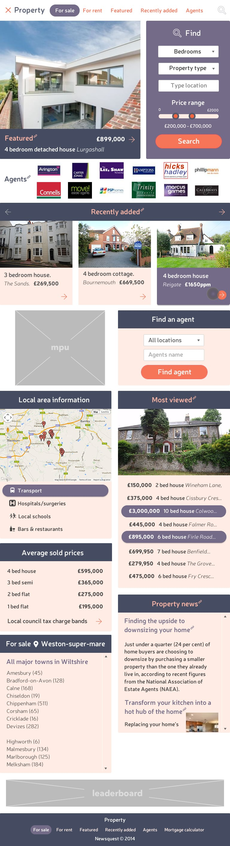 Property landing page tablet breakpoint